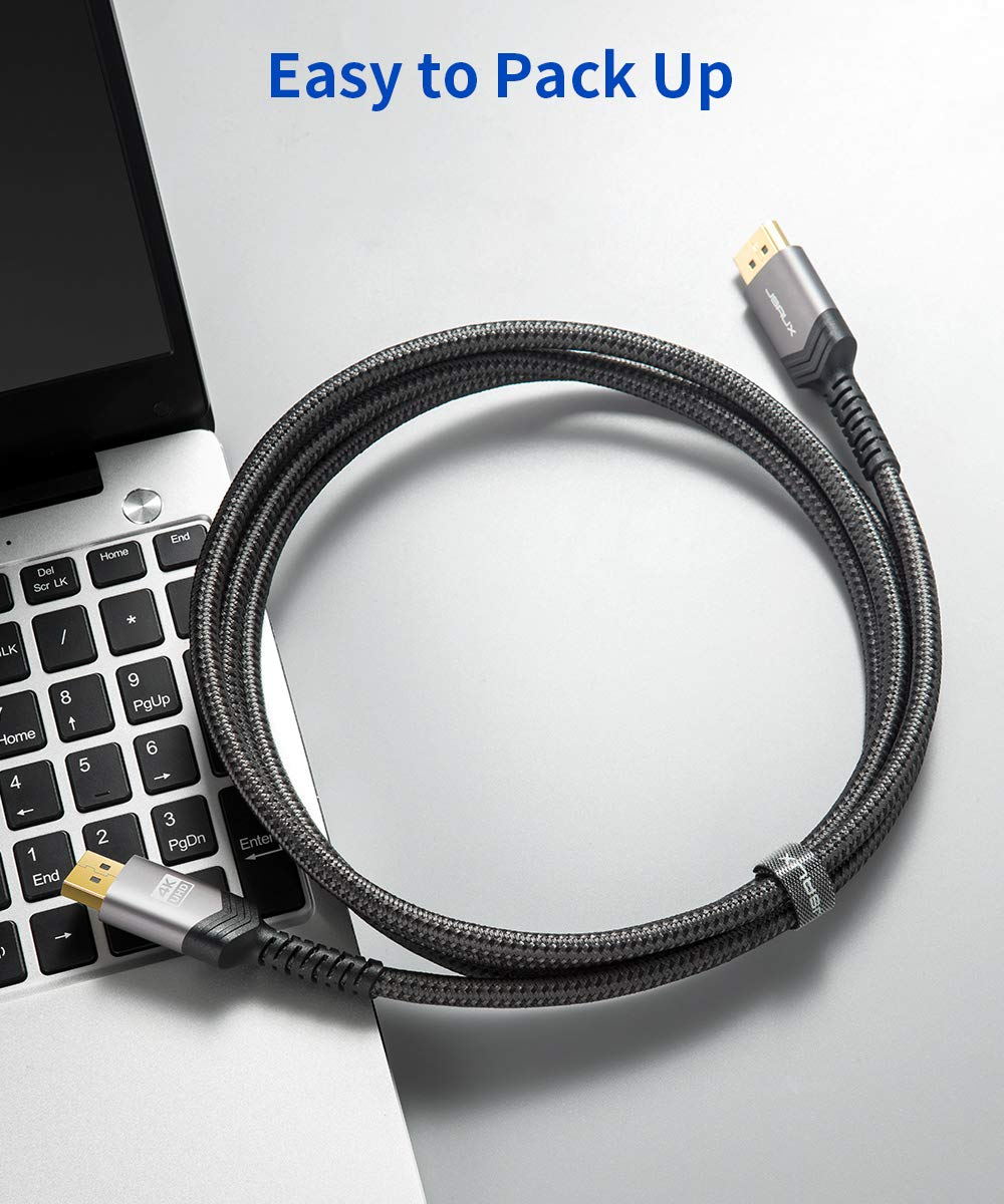 Grey DisplayPort to DisplayPort Cable 10ft Gold-Plated Braided Ultra High Speed DisplayPort Cord for Laptop PC TV etc- Gaming Monitor DP Cable JSAUX 1.2 DP Cable 4K@60Hz, 2K@165Hz, 2K@144Hz