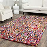 Safavieh Nantucket Collection NAN143A Handmade Abstract Geometric Pink and Multi Cotton Area Rug (5' x 8')