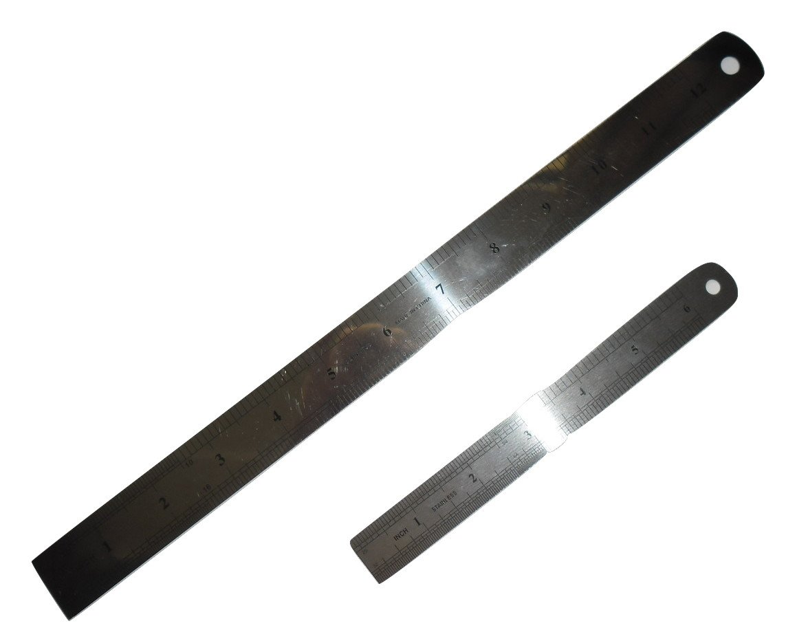 Stainless Steel Ruler - 6 inch and 12 inch, Pack of 6 Rulers, 3 pieces each Hippo