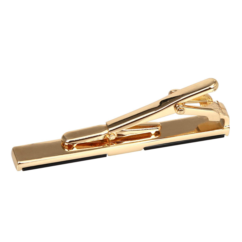 nero o canna di pistola Fermacravatta inossidabile Digabi 5,8 cm placcato in oro set da 3 pezzi squisita clip da uomo