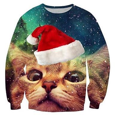 c25e4a0f8a RAISEVERN Unisex Men Women Funny Ugly Christmas Jumpers 3D Printed Xmas  Santa Sweatshirt Long Sleeve Pullover  Amazon.co.uk  Clothing