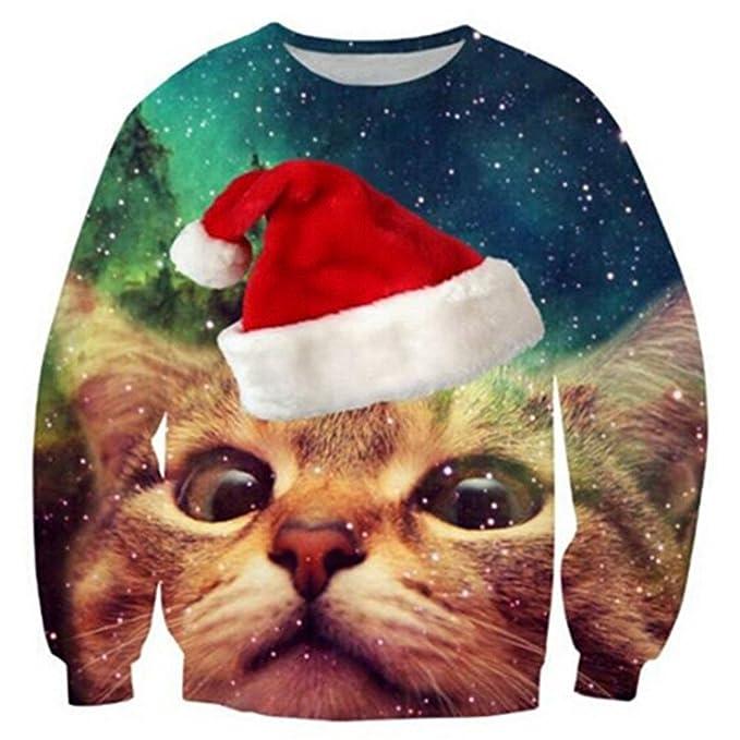 fedc3f320e2e RAISEVERN Unisex Men Women Funny Ugly Christmas Jumpers 3D Printed Xmas  Santa Sweatshirt Long Sleeve Pullover  Amazon.co.uk  Clothing