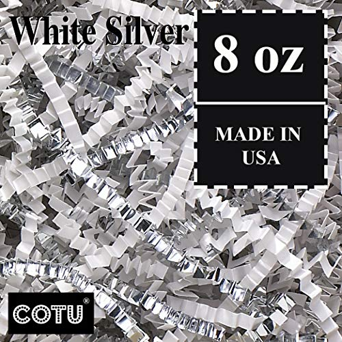 - 1/2 LB Premium White Silver Metallic Mix Crinkle Shred Gift Basket Shred Crinkle Paper Filler Bedding by COTU (8 oz)