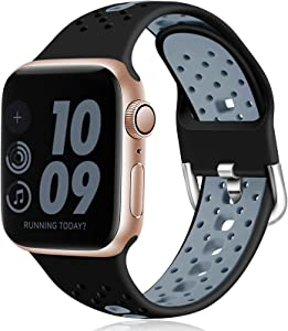 Dirrelo Compatible with Apple Watch Band 40mm 38mm iWatch Series 6 5 4 3 2 1 & SE for Women Men, Breathable Sport Bands Soft Silicone Replacement Watch Straps, Black-Gray S/M