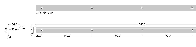 Schrankgriff Edelstahl-Optik zum Schrauben Bohrabstand 240 mm Profilgriff Alu GR10031 Gedotec Moderner Schubladengriff Aluminium M/öbelgriff Edelstahl Griffleiste K/üche 1 St/ück