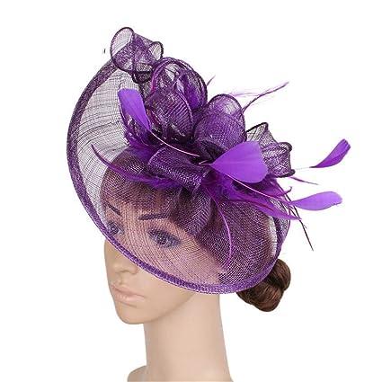 Sunbobo Womens Elegante Fascinator Cappello da Sposa Piuma Accessori per  Capelli Clip Ascot Headwear per Tea 84ac6d25cfcf