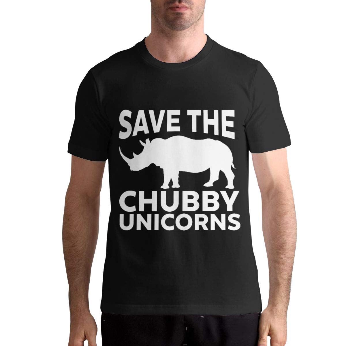DANIELBURTON Cool Save The Chubby Unicorn Mens Black T-Shirt Top Tees Short Sleeve Shirts