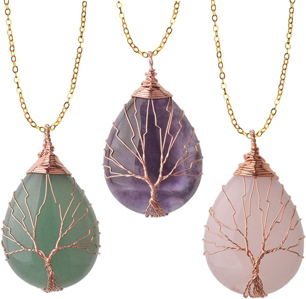 ZHEPIN Vintage Tree of Life Wire Wrapped Copper Teardrop Natural Gemstones Pendant Necklace,with Gift Box