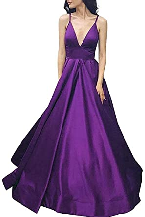 BessWedding Womens A Line Satin Prom Dresses 2018 Long V Neck Evening Gown Size 2 Purple