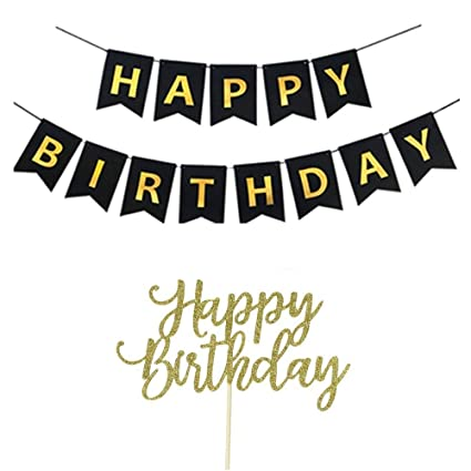 YOFEY1 Happy Birthday Banner, Happy Birthday Cake Topper, Black and Gold