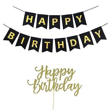 Amazon.com: Feliz cumpleaños Banner, Feliz tarta de ...