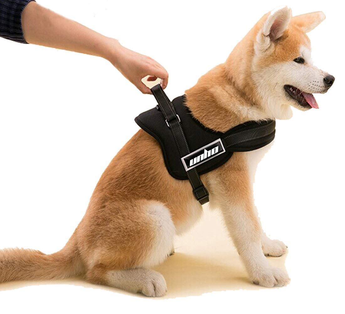 UNHO No Pull Harness Dog Lead Padded Pet Walking Harness Dog Body Vest Comfort Control for Pretty Small Dogs in Training Walking Chest 50-60cm Black XS