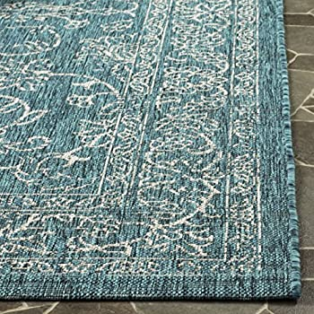 "Safavieh Courtyard Collection CY8680-37221 Turquoise Square Indoor/ Outdoor Area Rug (67"" Square)"