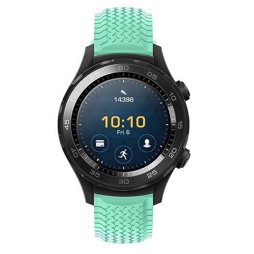 Nueva Banda de Deportes Correa Reloj de Color sólido Pulsera de Silicona Strap Moda Brazalete neumático Rayas para el Reloj 2 Huawei: Amazon.es: Relojes