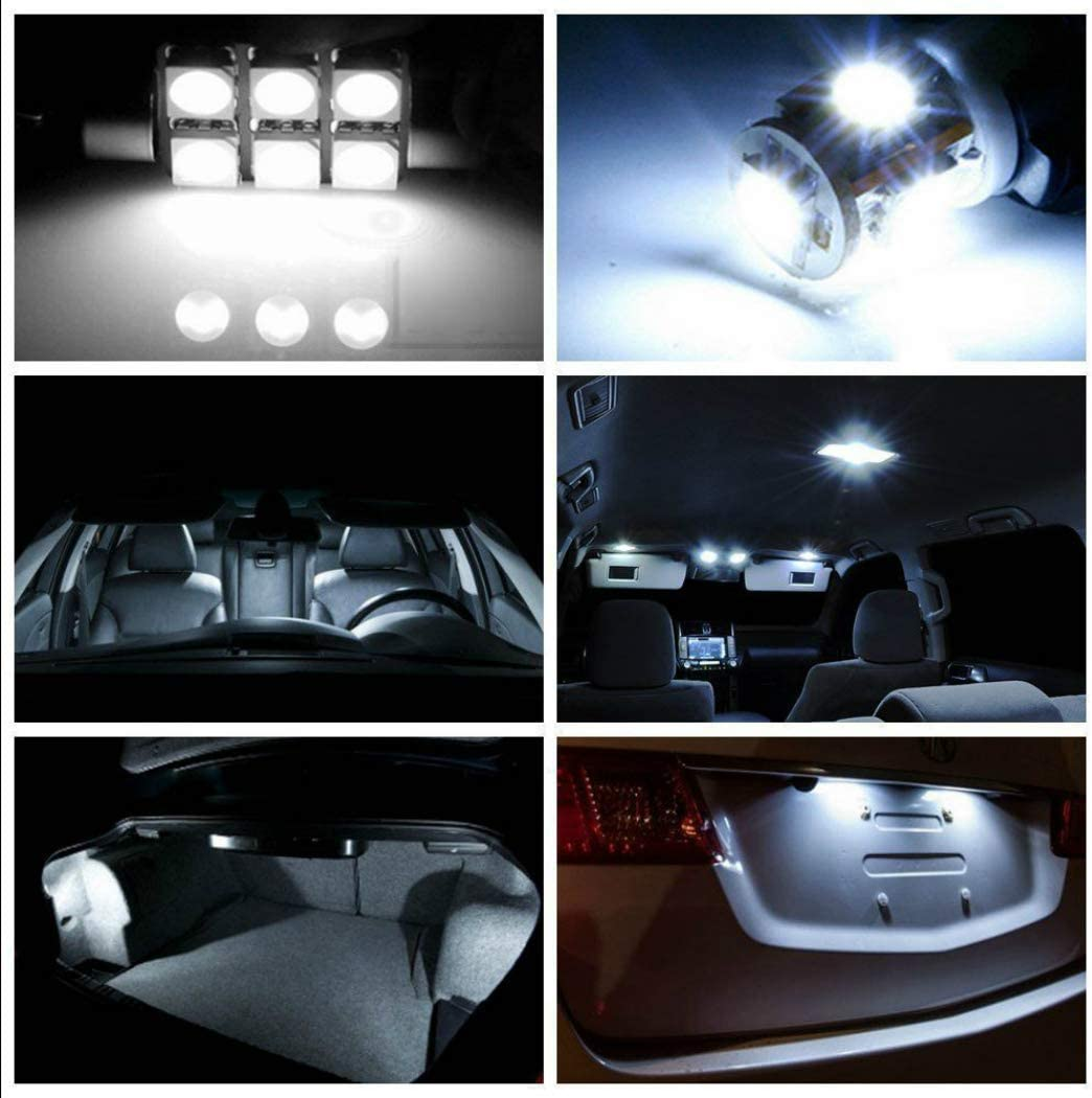 For Sharan 2012-2017 LED Car Bulbs Reading lights Super Bright Car Interior Light Dome Map Side Courtesy Lamps Canbus Error Free Replacement Lights White 11Pcs