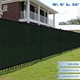 E&K Sunrise 6' x 32' Green Fence Privacy Screen, Commercial Outdoor Backyard Shade Windscreen Mesh Fabric 3 Years Warranty (Customized Set of 1