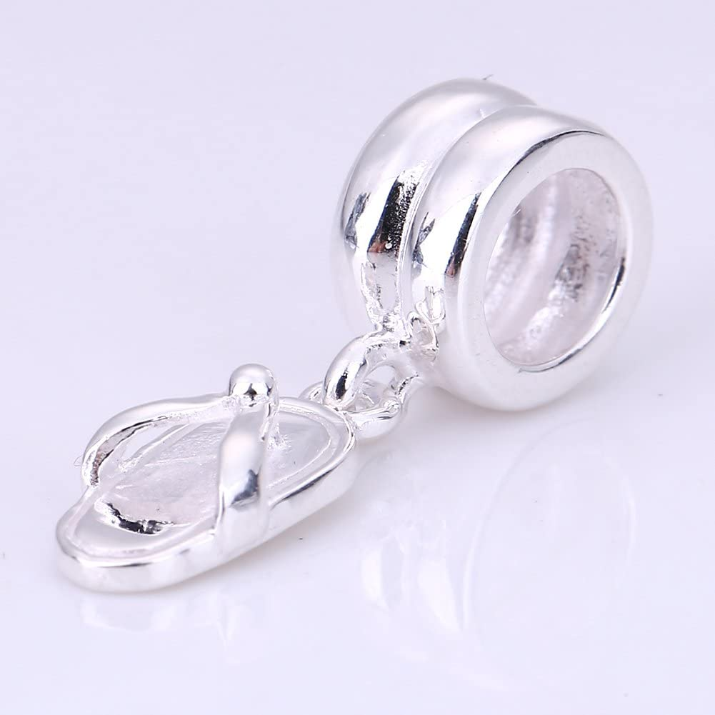Flip Flop Charms Authentic 925 Sterling Silver Slippers Pendant Charms for European Bracelet