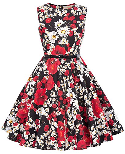 Flower Girl Dress 50's Vintage Knee-Length Swing Tea Dresses 10-11 Years K885-1]()