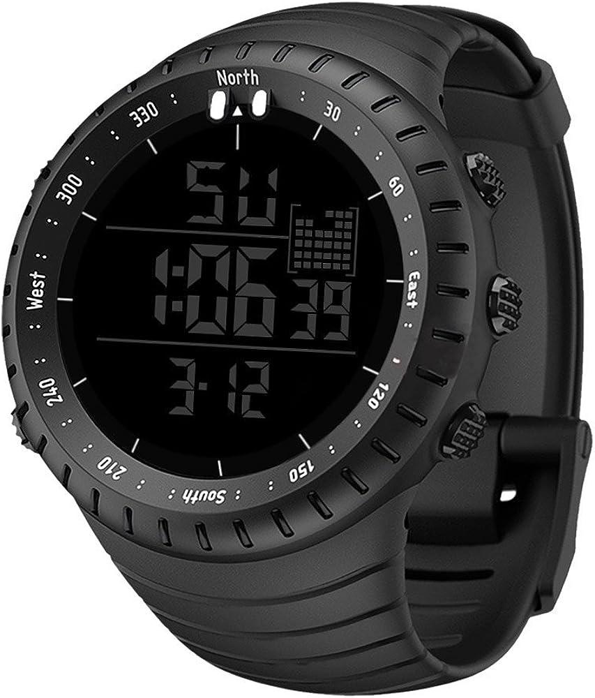 Divo - Reloj deportivo digital para hombre, resistente al agua, con alarma y temporizador, esfera grande, reloj de pulsera militar con retroiluminación LED para hombres que corren.