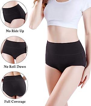 Details about  /wirarpa Women/'s Cotton Underwear Briefs High Waist Full XX-Large Black-5p