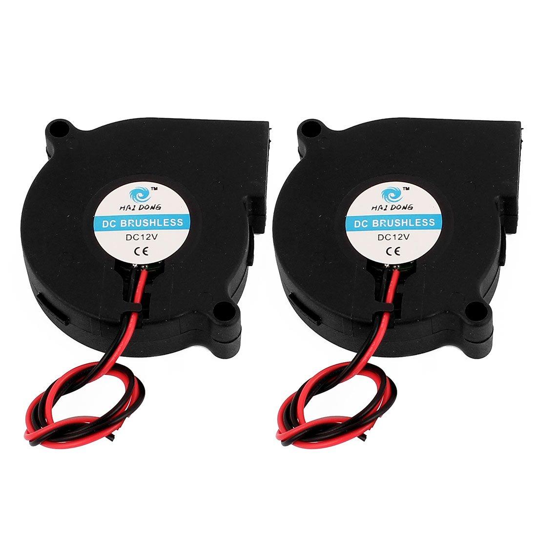 sourcingmap/® 2pcs 50x50x15mm Noir 2broche Brushless DC 12V 0.13A un ventilateur refroidissement pcs
