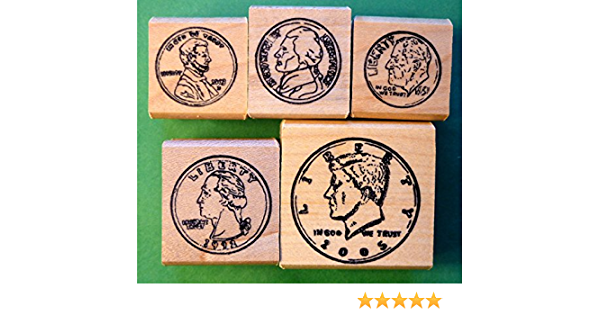 Details about  /VINTAGE Wood Mount 5 Coin Rubber Stamp Set Heads perfect home school set
