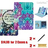 2 in 1 Bundle Package-2iPad Mini 1/2/3 PU Leather Case Cover Flip Wallet Case with Kickstand and Smart Auto Wake/Sleep Function [Free Cleaning Cloth,Stylus] (Nirvana Flower+Dream Catcher)