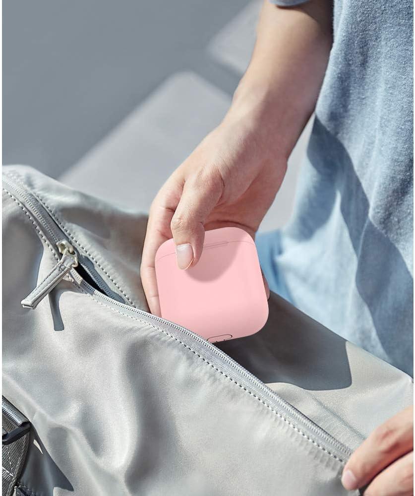 MoKo Funda de Piel Compatible con Apple AirPods 1 /& AirPods 2 Anti-Rasgu/ño Protector con 3 Tapas Coloridas para AirPods Cargador Protector Suave Dise/ño Dividido de Silicona Rosa
