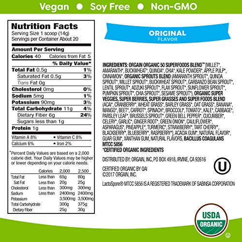 Orgain Organic Green Superfoods Powder, Original - Antioxidants, 1 Billion Probiotics, Vegan, Dairy Free, Gluten Free, Kosher, Non-GMO, 0.62 Pound (Packaging May Vary) by Orgain (Image #2)
