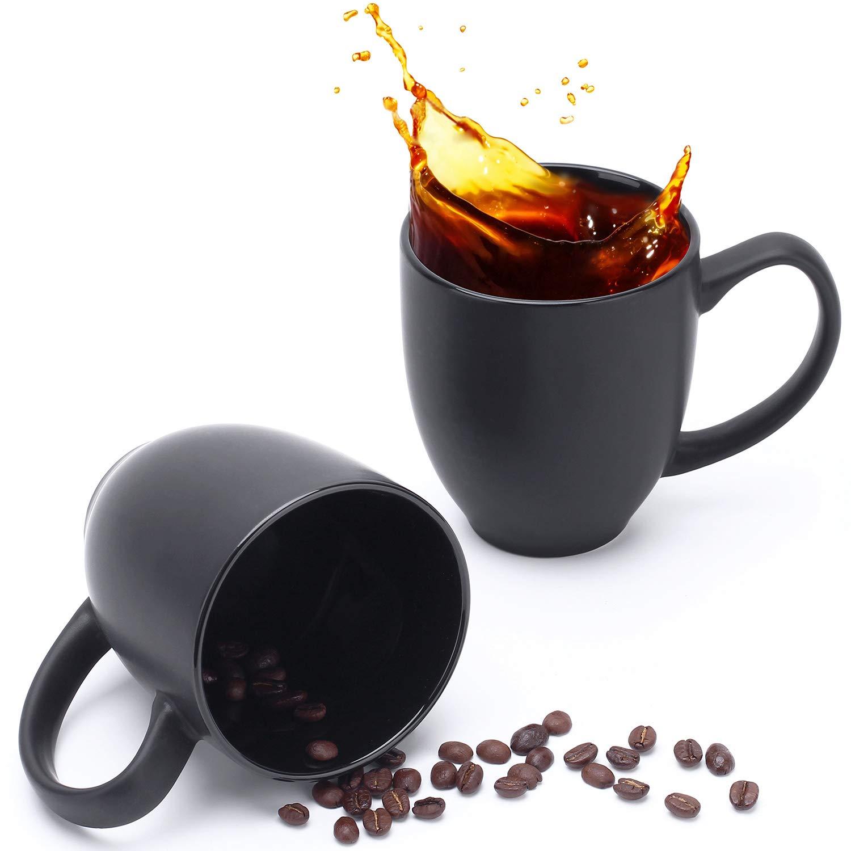 DOWAN Coffee Mugs, Coffee Mug Set of 6 with A Big Handle (16 Oz), Minimalist Tea Mug, Black