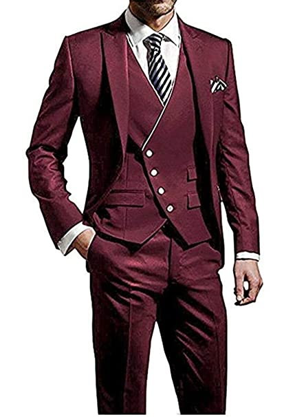 Mens Burgundy Suits Peak Lapel 3 Pieces Wedding Suits Groom ...