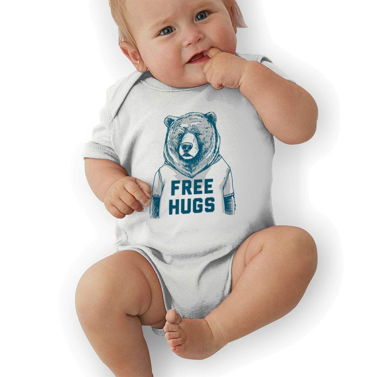 Newborn Baby Boys Bodysuit Short-Sleeve Onesie Free Hugs Print Jumpsuit Winter Pajamas