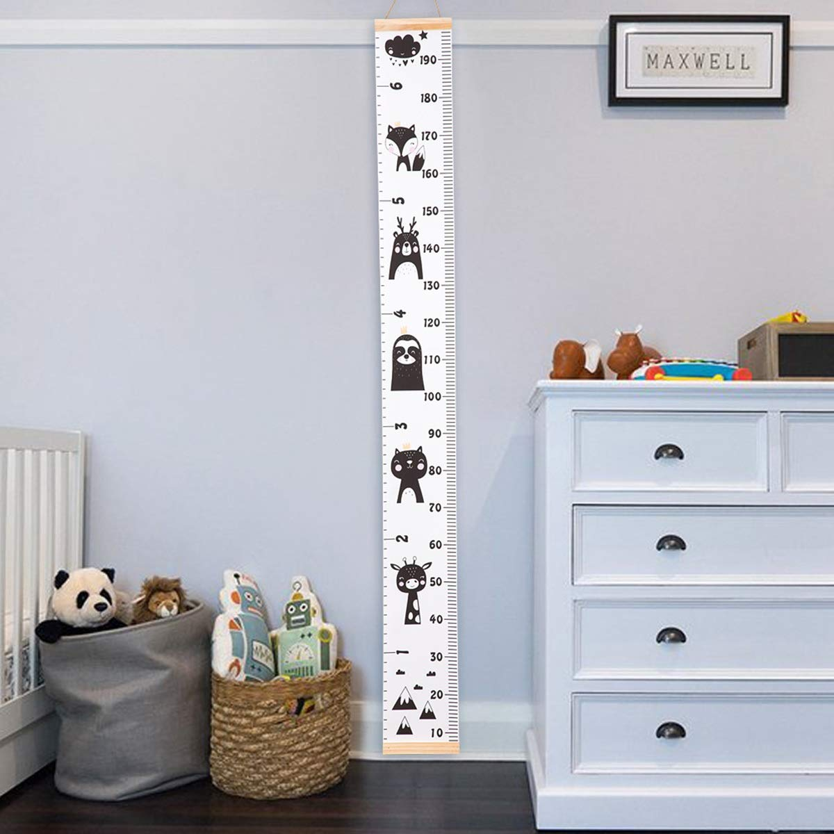 Waterproof Canvas Height Ruler Removable Handing Ruler Wall Decor Baby Growth Chart Ruler Color : A, Size : M