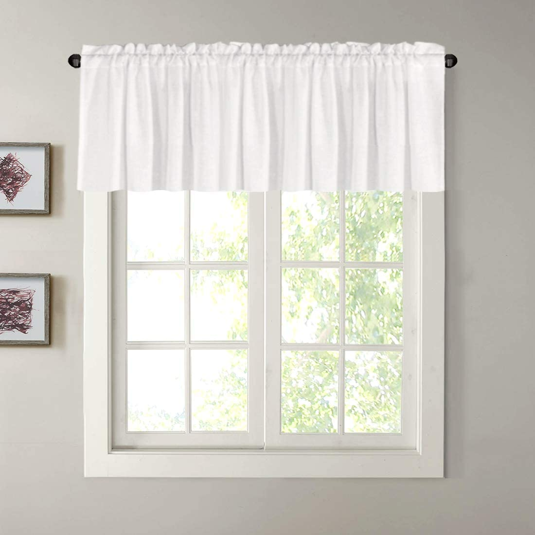 """H.VERSAILTEX Natural Linen Curtain Valances for Kitchen Window/Living Room/Bathroom Privacy Added Rod Pocket Home Decoration Small Curtain, 52"""" W x 18"""" L, Off White, 1 Panel"""