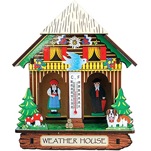 US NORDIC IMPORT & EXPORT CT Bavarian Weather House - Collectible Figure w/Thermometer for Table Or Wall