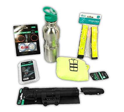 Bicycle Kit Complete with Water Bottle Air Pump Tire Patch Kit Class II High Visibilty Safety Vest LED Safety Arm Bands and LED Spoke Lights Right Gear Fitness