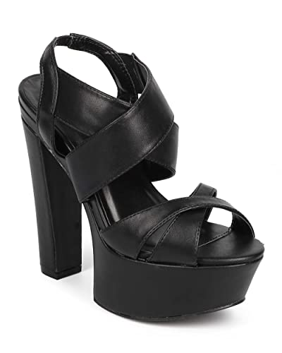 354d878a01cf Women Leatherette Peep Toe Criss Cross Slingback Platform Sandal DD88 -  Black (Size  8.5