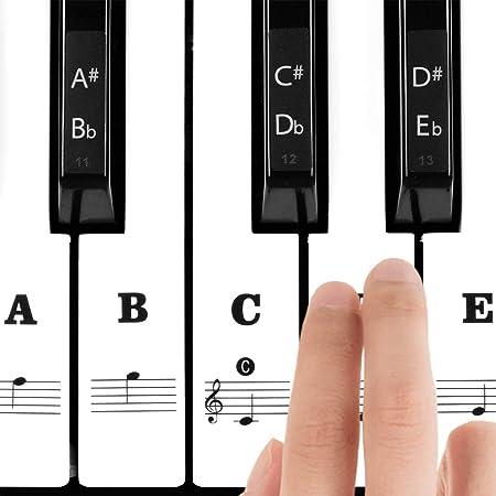 Pegatinas para Teclado o Piano Para 37/49/54/61/88 Teclas, Facilita Aprendizaje de Piano, Reemplazo Pegatinas Teclado de Piano Pegatina de Notas para ...