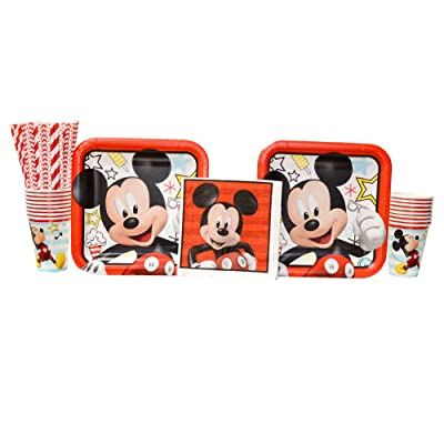 Mickey Mouse On The Go Birthday Party Supplies Pack for 16 Guests | Straws, 16 Dinner Plates, 16 Lunch Napkins, and 16 Cups | Celebrate Your Birthday With Mickey Mouse, Donald Duck, And Goofy!: Toys & Games