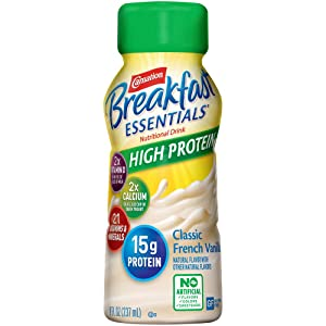 Carnation Breakfast Essentials High Protein Ready-to-Drink, Classic French Vanilla, 8 Ounce Bottle (Pack of 24) (Packaging May Vary)