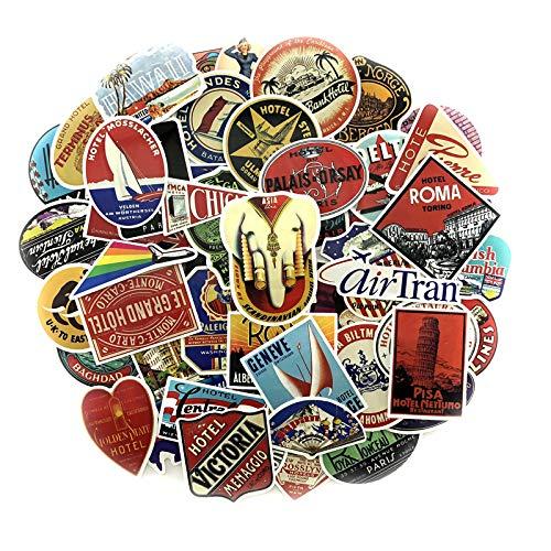 55pcs/Set Global Retro Travel Graffiti Stickers International Hotel Logo Logo Sticker for Luggage Laptop Fridge Noteboo K Car