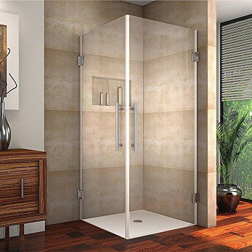 Frameless Shower Enclosures (Aston SEN989-32-SS-10 Vanora Completely Frameless Square Shower Enclosure, 32