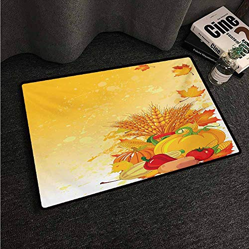 HCCJLCKS Interior Door mat Harvest Vivid Festive Collection of Vegetables Plump Pumpkins Wheat Fall Leaves Country Home Decor W20 xL31 Earth Yellow Green Red