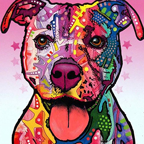 Oil Painting, Alonea Colorful Dog Oil Painting Watercolor Painting Photo Print Canvas Unframed - Home Decor (Multicolor (Dog Watercolor Painting)