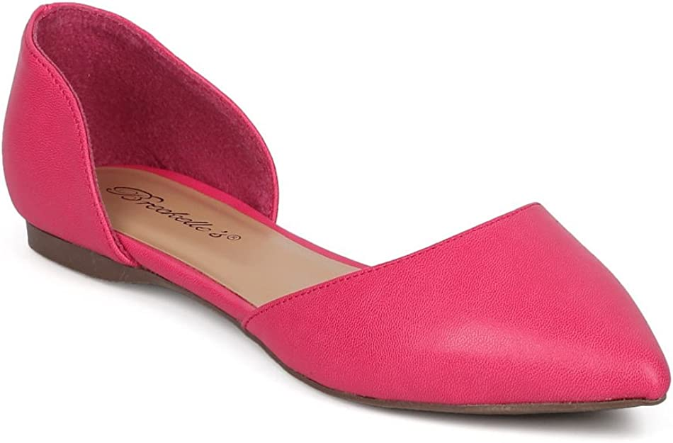 Breckelles Womens Faux Leather DOrsay Pointed Toe Flats