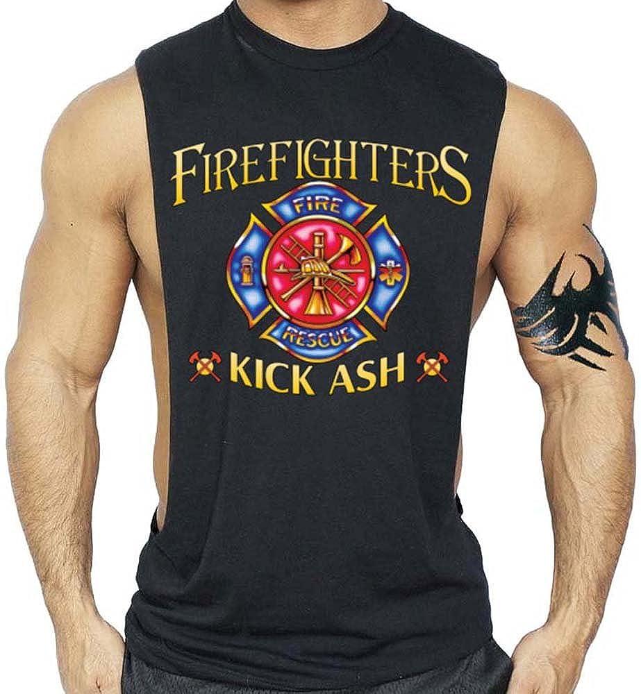 Firefighters Kick Ash T-Shirt Bodybuilding Tank Top Black XS-3XL