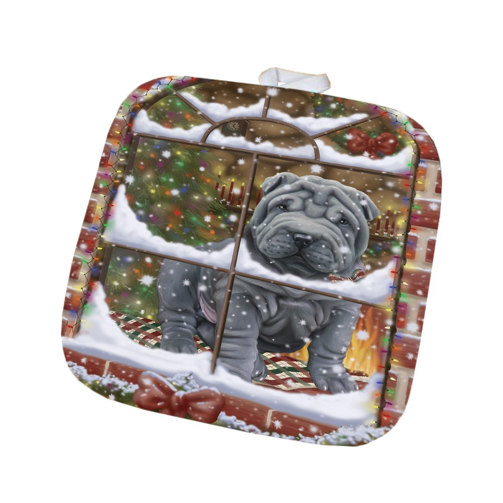 Please Come Home For Christmas Shar Pei Dog Sitting In Window Pot Holder POT48416