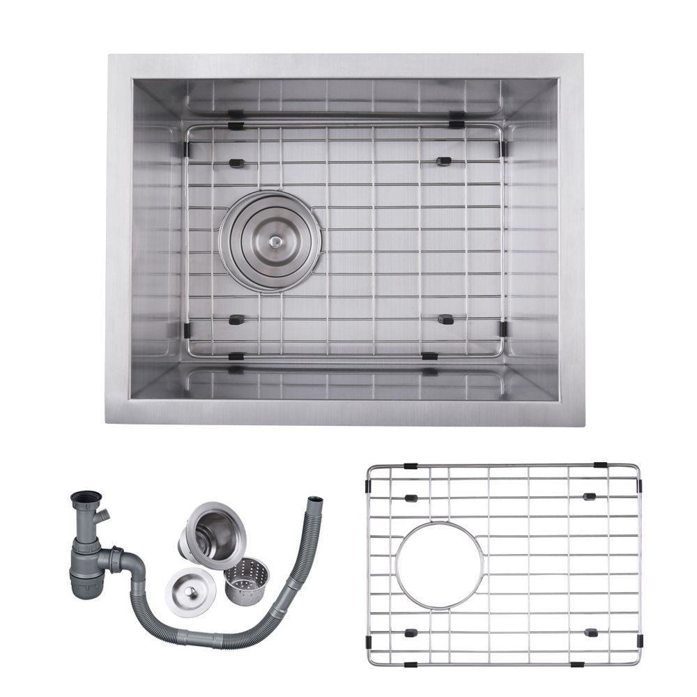 Kes Sus 304 Stainless Steel Kitchen Sink Single Bowl Undermount Deep Rv Trailer Wiring Diagram 16 Gauge Zero Radius With Drain Stainer Basket And Bottom Grid Protector 14 X 18 8