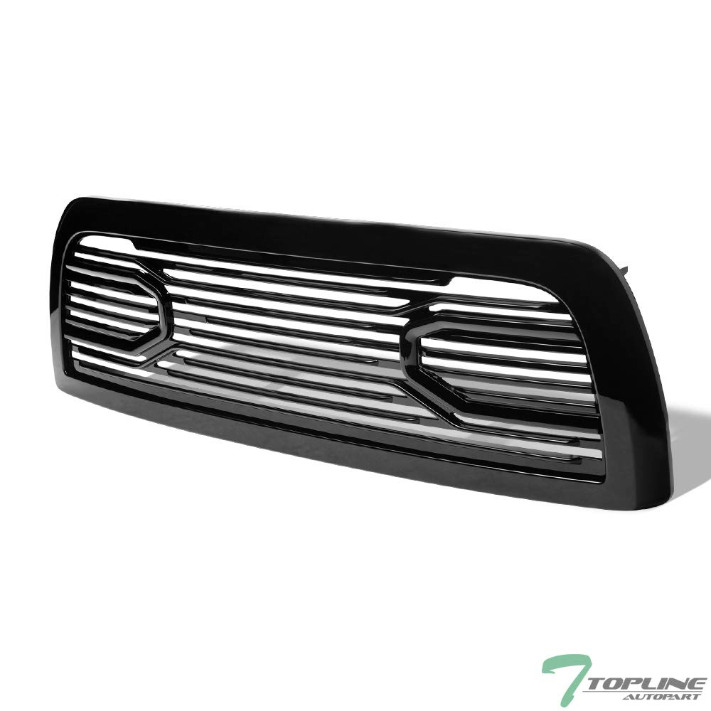 Topline Autopart Glossy Black Big Horn Style Front Hood Bumper Grill Grille ABS with Shell For 10-18 Dodge Ram 2500//3500 4500//5500
