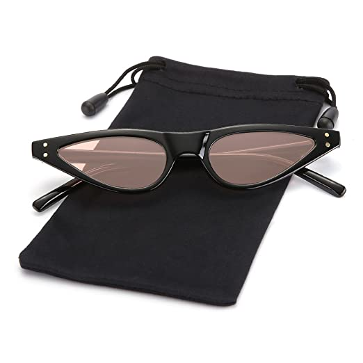 8bc6954c7 Amazon.com: Retro Slim Cateye Flat Sunglasses Small Tinted Lens Shades for  Women and Men LOOKEYE, Black Frame and Pink Lens: Sports & Outdoors
